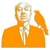 Vinilo Alfred Hitchcock Naranja 78x75cm
