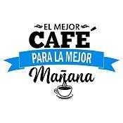 Vinilo El Mejor Café Negro, Azul Claro Medida M