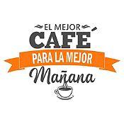 Vinilo El Mejor Café Gris Oscuro, Naranja Medida P