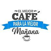 Vinilo El Mejor Café Gris Oscuro, Azul Claro Medida P