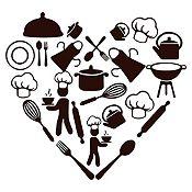 Vinilo Corazón Elementos De Cocina Negro Medida M
