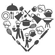 Vinilo Corazón Elementos De Cocina Plata Medida M
