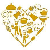 Vinilo Corazón Elementos De Cocina Dorado Medida P