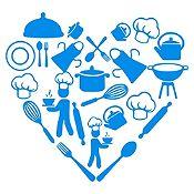 Vinilo Corazón Elementos De Cocina Azul Claro Medida P