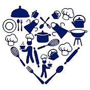 Vinilo Corazón Elementos De Cocina Azul Oscuro Medida M