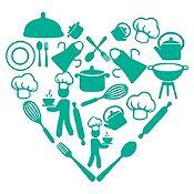 Vinilo Corazón Elementos De Cocina Turquesa Medida M