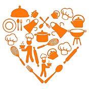 Vinilo Corazón Elementos De Cocina Naranja Medida G