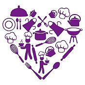 Vinilo Corazón Elementos De Cocina Morado Medida P