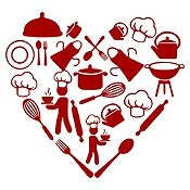 Vinilo Corazón Elementos De Cocina Vinotinto Medida M