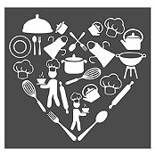 Vinilo Corazón Elementos De Cocina Blanco Medida P