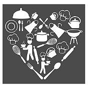 Vinilo Corazón Elementos De Cocina Blanco Medida M