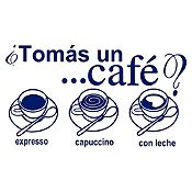 Vinilo Tomate Un Café Azul Oscuro Medida G