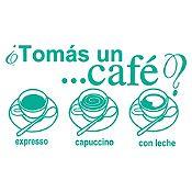 Vinilo Tomate Un Café Turquesa Medida M