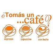 Vinilo Tomate Un Café Naranja Medida P