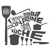 Vinilo Cocina En Idiomas Plata Medida M