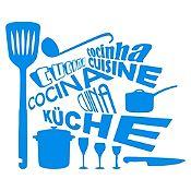 Vinilo Cocina En Idiomas Azul Claro Medida M