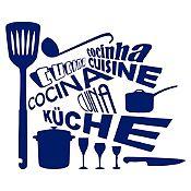 Vinilo Cocina En Idiomas Azul Oscuro Medida G