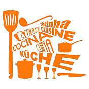 Vinilo Cocina En Idiomas Naranja Medida M