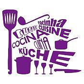 Vinilo Cocina En Idiomas Morado Medida P