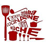 Vinilo Cocina En Idiomas Vinotinto Medida M