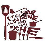 Vinilo Cocina En Idiomas Marrón Medida M