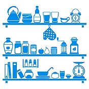 Vinilo Cocina En Orden Azul Claro Medida P