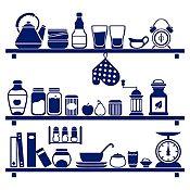 Vinilo Cocina En Orden Azul Oscuro Medida M
