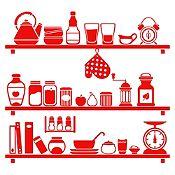 Vinilo Cocina En Orden Rojo Medida G