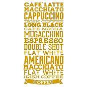Vinilo Tipos De Café Dorado Medida M