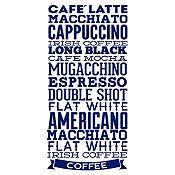 Vinilo Tipos De Café Azul Oscuro Medida G
