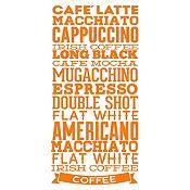 Vinilo Tipos De Café Naranja Medida G