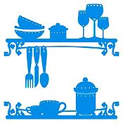 Vinilo Utensilios De Cocina Azul Claro Medida P