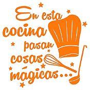 Vinilo En Esta Cocina Naranja Medida P