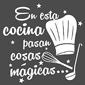 Vinilo En Esta Cocina Blanco Medida M
