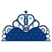 Vinilo Cabecero Infantil Azul Oscuro, Menta Medida P