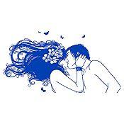 Vinilo Beso Adolescente 1 Azul Medio Medida P