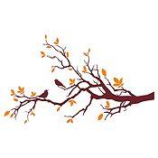 Vinilo Aves En Rama 1 Naranja, Marrón Medida P