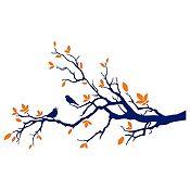 Vinilo Aves En Rama 1 Azul Oscuro, Naranja Medida P