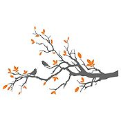 Vinilo Aves En Rama 1 Gris Oscuro, Naranja Medida M