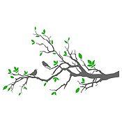 Vinilo Aves En Rama 1 Gris Oscuro, Verde Medida M