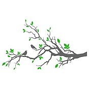 Vinilo Aves En Rama 1 Gris Oscuro, Verde Medida G