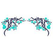 Vinilo Esquinero Mariposas 1 Azul Oscuro, Menta Medida P