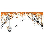 Vinilo Aves En El Parque 1 Gris Oscuro, Naranja Medida P