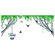 Vinilo Aves En El Parque 1 Azul Oscuro, Verde Claro Medida P
