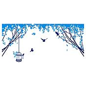 Vinilo Aves En El Parque 1 Azul Oscuro, Azul Claro Medida P