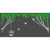 Vinilo Aves En El Parque 1 Blanco, Verde Claro Medida G