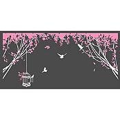 Vinilo Aves En El Parque 1 Blanco, Rosado Medida M