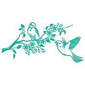 Vinilo Pareja de Aves 1 Verde Esmeralda Medida P