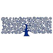 Vinilo Árbol de la Vida Klimt 1 Azul Oscuro Medida G