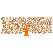 Vinilo Árbol de la Vida Klimt 1 Naranja Medida P
